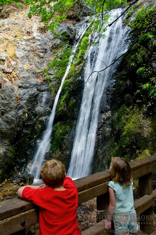 Kids looking at water in Pfeiffer Falls, Pfeiffer Big Sur State Park, Monterey County, California