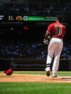 May 1 2011; Phoenix, AZ, USA; Arizona Diamondbacks batter Justin Upton (10) reacts after striking out in the first inning against the Chicago Cubs at Chase Field. Mandatory Credit: Jennifer Stewart-US PRESSWIRE..