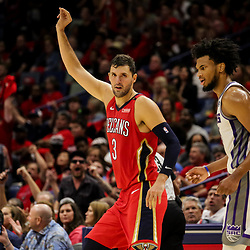 Oct 19, 2018; New Orleans, LA, USA; New Orleans Pelicans forward Nikola Mirotic (3) celebrates after a three point score against the Sacramento Kings during the fourth quarter at the Smoothie King Center. The Pelicans defeated the Kings 149-129. Mandatory Credit: Derick E. Hingle-USA TODAY Sports