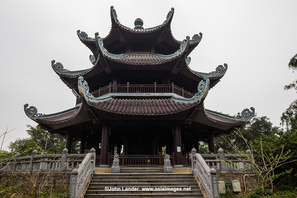 Bell Tower at Bai Dinh Pagoda - Famous for its hundreds of statues, Bai Dinh in the Trang An Complex near Ninh Binh is considered one of the largest temple and pagoda complexes in Southeast Asia. It contains by far the most numerous statues of Buddhas and rakan disciples in Vietnam. Bai Dinh Pagoda complex is typically part of any visit to the Trang An Landscape Complex, one of Vietnam's most impressive UNESCO World Heritage Sites.