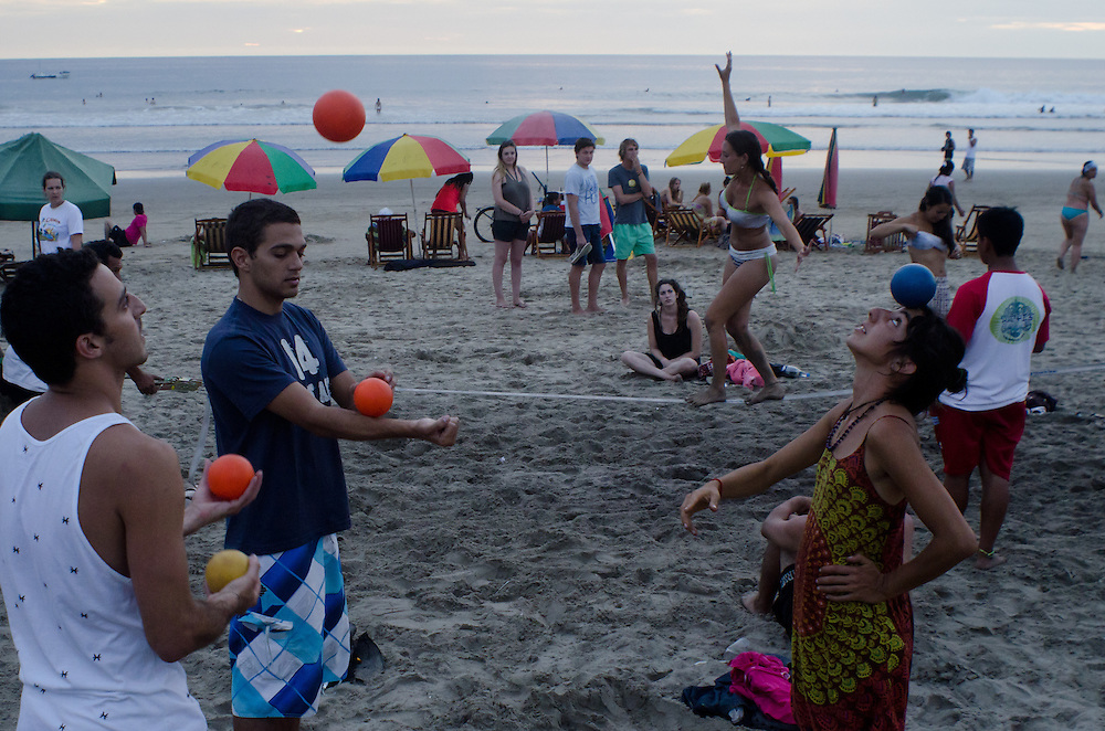Beach performers on the shore in Montañita, Ecuador.