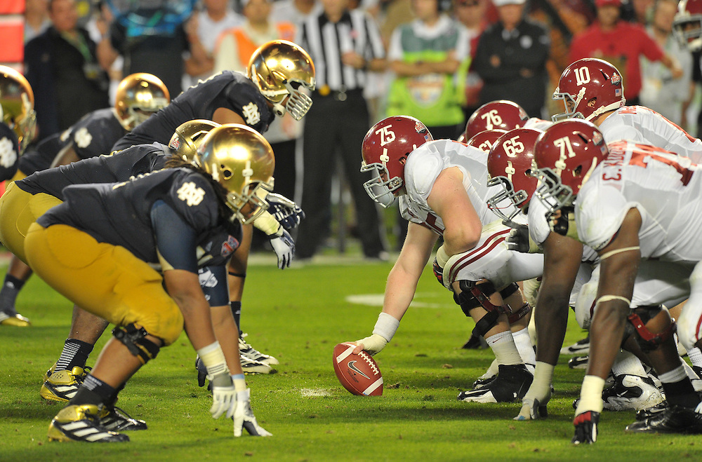The Irish and the Crimson Tide line up at the line of scrimmage in the third quarter.