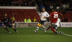 Chris O'Grady of Nottingham Forest (R) scores his sides second goal - Mandatory byline: Jack Phillips / JMP - 07966386802 - 5/12/2015 - FOOTBALL - The City Ground - Nottingham, Nottinghamshire - Nottingham Forest v Fulham - Sky Bet Championship