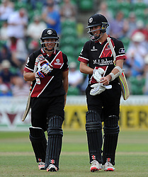 Somerset's Michael Bates and Tom Cooper walk off at the end of the innings as Tom Cooper finishes unbeaten on 93. - Photo mandatory by-line: Harry Trump/JMP - Mobile: 07966 386802 - 31/07/15 - SPORT - CRICKET - Somerset v Worcestershire- Royal London One Day Cup - The County Ground, Taunton, England.