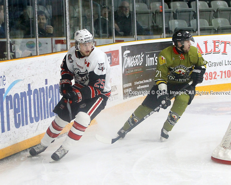 TRENTON, ON  - MAY 4,  2017: Canadian Junior Hockey League, Central Canadian Jr. &quot;A&quot; Championship. The Dudley Hewitt Cup. Game 5 between Powassan Voodoos and the Georgetown Raiders. Jordan Anderson #25 of the Georgetown Raiders and  Ryan Bazzana #21 of the Powassan Voodoos skates after the puck during the first period.<br /> (Photo by Tim Bates / OJHL Images)