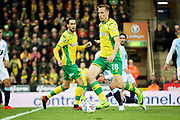 Norwich City midfielder Marco Stiepermann (18)  shoots from the edge of the box during the EFL Sky Bet Championship match between Norwich City and Blackburn Rovers at Carrow Road, Norwich, England on 27 April 2019.