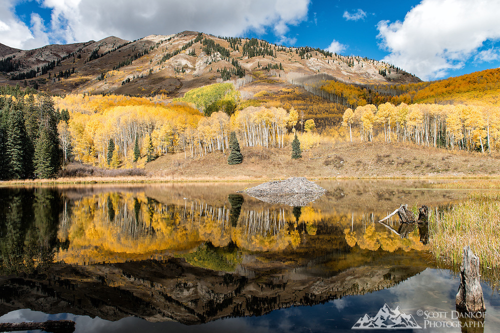 The Anthracite Range is reflected in the beaver ponds on a calm day. The Beaver Pond Trail #516 is located near Ohio Pass.