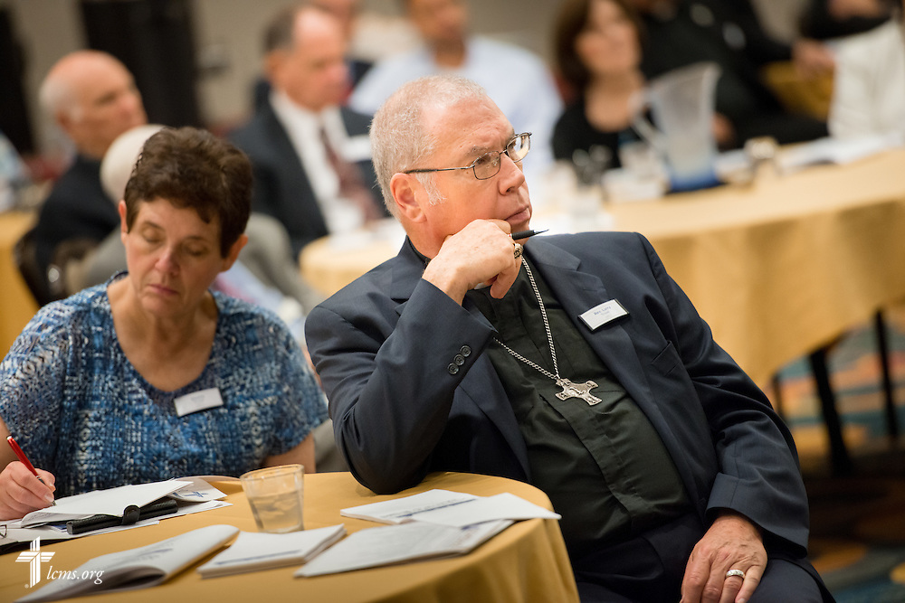 The Rev. Larry Troxel, pastor at Saint Paul Lutheran Church in Augusta, Ill., listens during the Let's Talk Life, Marriage and Religious Liberty event on Tuesday, September 8, 2015, in Washington, D.C. LCMS Communications/Erik M. Lunsford