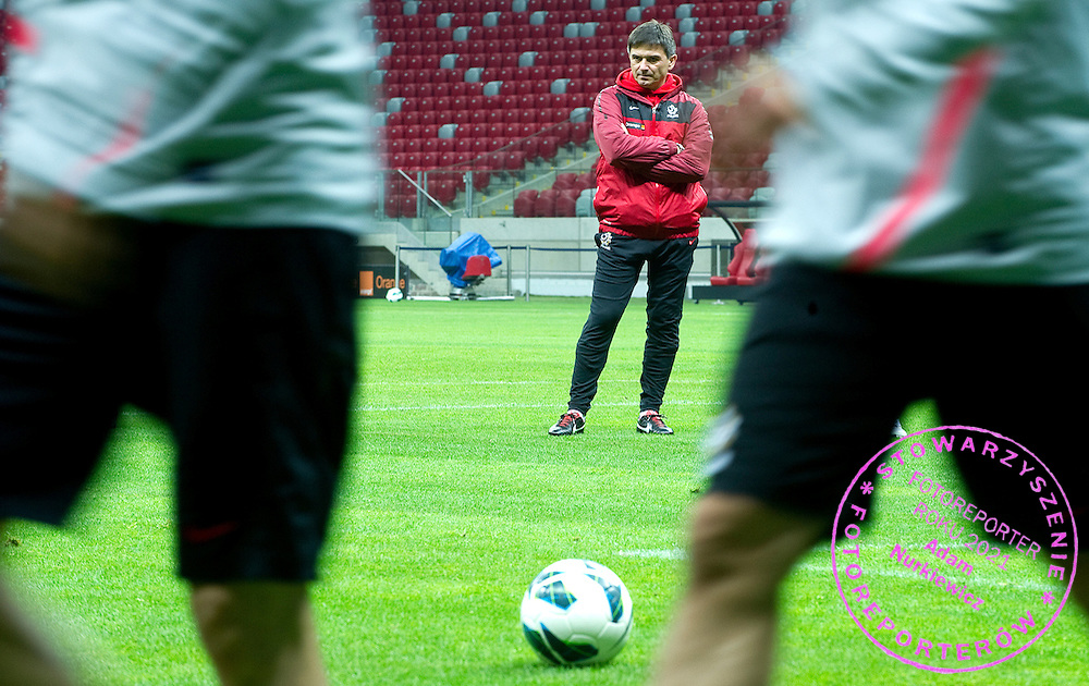 Waldemar Fornalik trainer coach of Polish national team during the training session one day before friendly soccer match between Poalnd and South Africa at National Stadium in Warsaw on October 11, 2012...Poland, Warsaw, October 11, 2012..Picture also available in RAW (NEF) or TIFF format on special request...For editorial use only. Any commercial or promotional use requires permission...Photo by © Adam Nurkiewicz / Mediasport