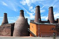 Brick Bottle Kilns at The mid 19th century Gladstone Pottery, in Longton, Stoke on Trent, Staffordshire, UK.