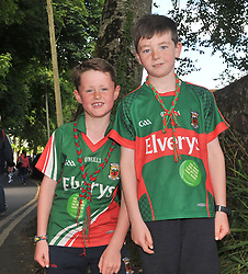 Mayo Supporters Gavin and Sean Walsh from Killala on their way to Pearse Stadium ahead of the Connacht Championship semi-final clash against Galway.<br /> Pic Conor McKeown