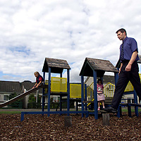Ken Lyall of the Tayside Crescent Playpark Action Group in Aberfeldy who are protesting against the closure of playparks by Perth and Kinross Council<br />