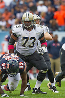 06 October 2013: Guard (73) Jahri Evans of the New Orleans Saints in game action against the Chicago Bears during the second half of the Saints 26-18 victory over the Bears in an NFL Game at Soldier Field in Chicago, IL.