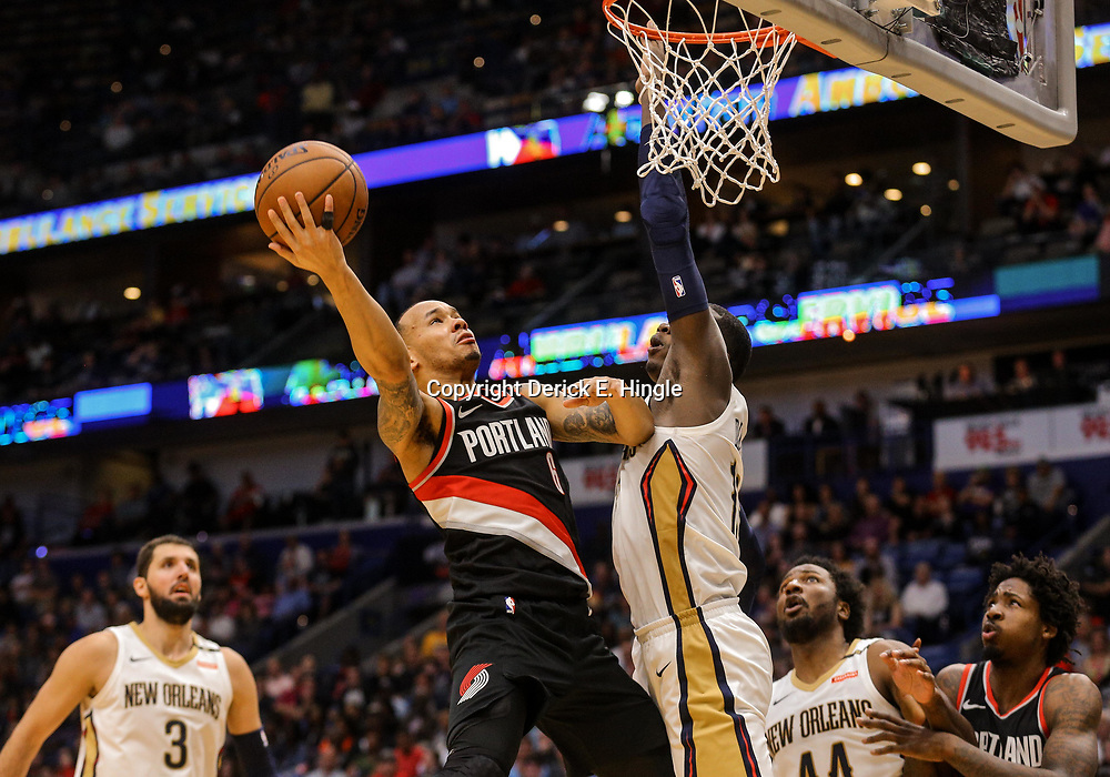 Mar 27, 2018; New Orleans, LA, USA; Portland Trail Blazers guard Shabazz Napier (6) shoots over New Orleans Pelicans forward Cheick Diallo (13) during the second half at the Smoothie King Center. The Trail Blazers defeated the Pelicans 107-103. Mandatory Credit: Derick E. Hingle-USA TODAY Sports