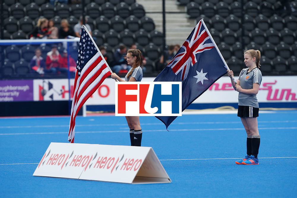 LONDON, ENGLAND - JUNE 18:  Flag bearers during the national anthem during the FIH Women's Hockey Champions Trophy 2016 match between United States and Australia at Queen Elizabeth Olympic Park on June 18, 2016 in London, England.  (Photo by Joel Ford/Getty Images)