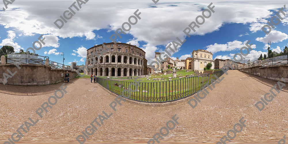 Equirectangular image of Teatro di Marcello in Rome, Italy on sunny morning of spring.