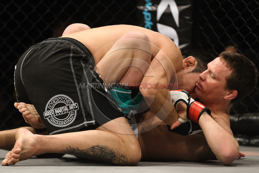 "NOTTINGHAM, ENGLAND, DECEMBER 10, 2011: Mixed martial arts action during ""BAMMA &: Manuwa vs. Rea"" inside Capital FM Arena in Nottingham, England on December 10, 2011"