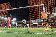 David Meyler scores for Hull City to go 1-0 up during the Capital One Cup match between Hull City and Swansea City at the KC Stadium, Kingston upon Hull, England on 22 September 2015. Photo by Ian Lyall.