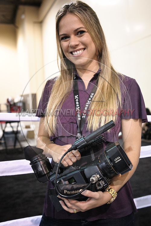 LAS VEGAS, NEVADA, JULY 10, 2009: Journalist Paula Sack poses for a photograph at the Pride FC stall during the UFC Fan Expo inside the Mandalay Bay Convention Centre in Las Vegas, Nevada