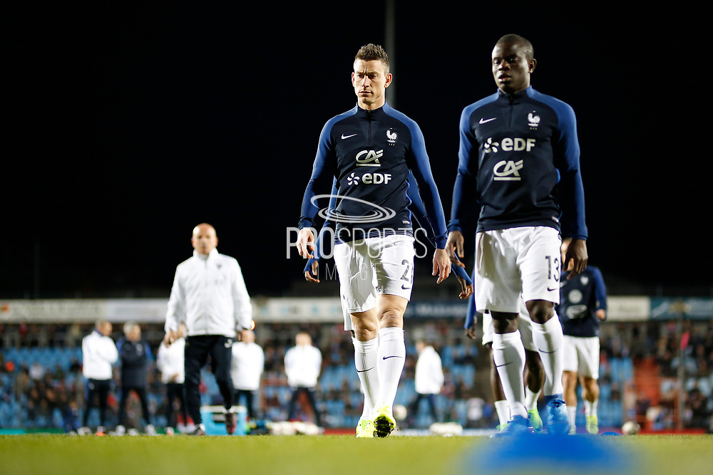 France's defender Laurent Koscielny and France's midfielder N?Golo Kante walk before the FIFA World Cup 2018 qualifying football match, Group A, between Luxembourg and France on March 25, 2017 at Josy Barthel stadium in Luxembourg - Photo Benjamin Cremel / ProSportsImages / DPPI