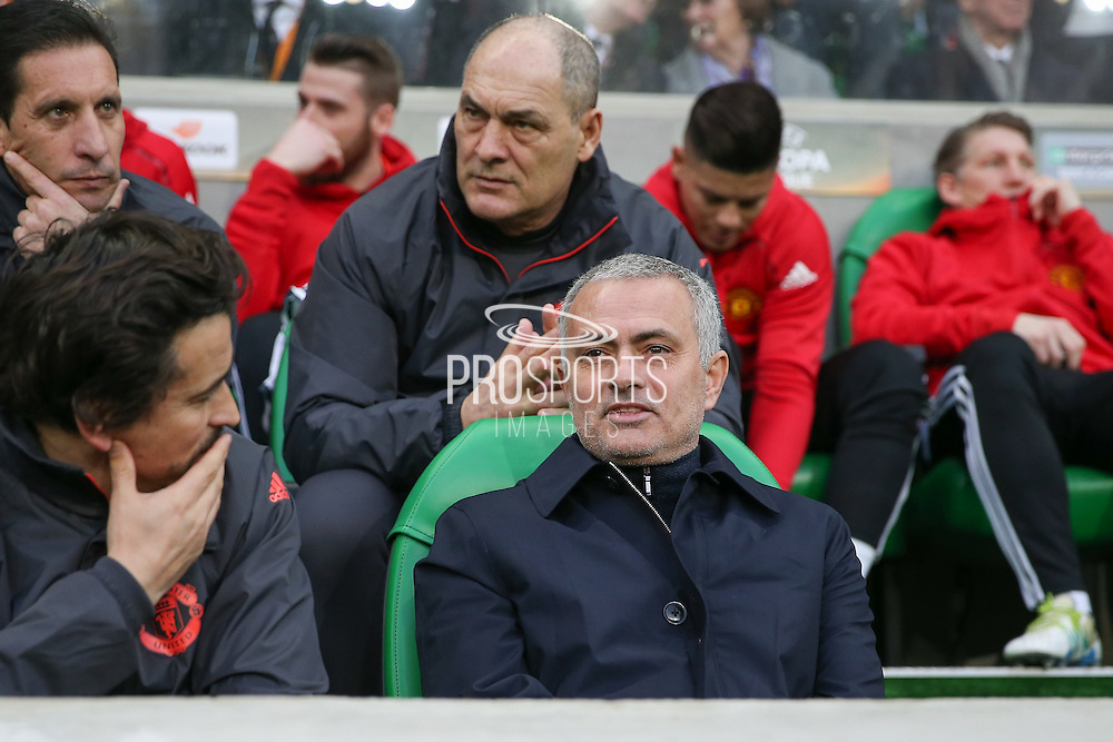 Jose Mourinho Manager of Manchester United Manager shares a smile with Rui Faria Assistant Manager of Manchester United during the Europa League match between Saint-Etienne and Manchester United at Stade Geoffroy Guichard, Saint-Etienne, France on 22 February 2017. Photo by Phil Duncan.