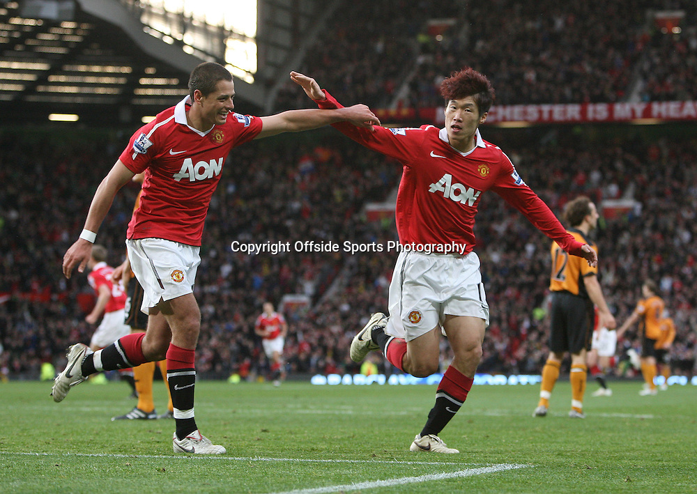 06/11/2010 - Manchester United vs. Wolverhampton Wanderers - Ji-Sung Park of Man Utd (R) celebrates after scoring their 1st goal with teammate Javier 'Chicharito' Hernandez - Photo: Simon Stacpoole / Offside.