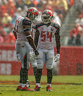 TAMPA, FL - OCTOBER 4: Defensive Tackle Gerald McCoy #93, Linebacker Lavonte David #54 of the Tampa Bay Buccaneers during the game against the Carolina Panthers at Raymond James Stadium on October 4, 2015, in Tampa, Florida. The Buccaneers lost 37-23. (photo by Mike Carlson/Tampa Bay Buccaneers)