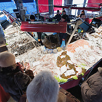 "VENICE, ITALY - FEBRUARY 08:  A general view of one of the stalls inside Rialto Fish Market on February 8, 2011 in Venice, Italy. The historic  Rialto Fish Market recently associated with the actor Johnny Depp because it appears in some scenes of the movie ""The Tourist"" risks closure if plans to move the wholesale fish market from Venice to Fusina go ahead."