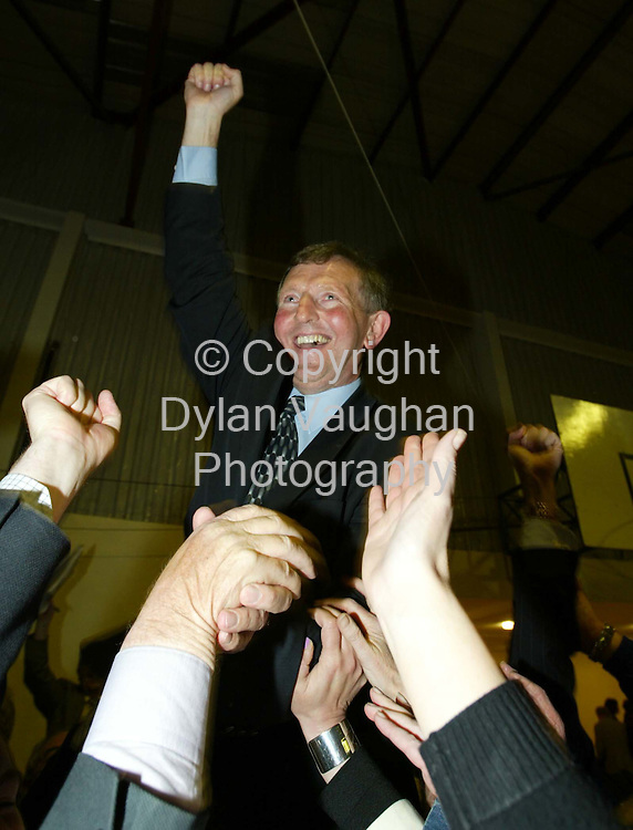19/5/2002 .Fianna Fails MJ Nolan pictured celebrating his election at the count centre in the community hall in Thomastown County Kilkenny..Picture Dylan Vaughan