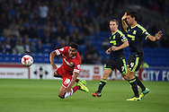 Tom Adeyemi of Cardiff city is fouled by Daniel Ayala of Boro &reg;. Skybet football league championship match, Cardiff city v Middlesbrough at the Cardiff city stadium in Cardiff, South Wales on Tuesday 16th Sept 2014<br /> pic by Andrew Orchard, Andrew Orchard sports photography.