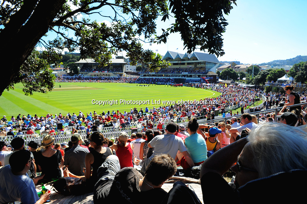 A general view of the Basin Reserve from the embankment. Fill The Basin for Christchurch fundraising cricket match - Canterbury Invitational XI v Wellington Legends XI  at Hawkins Basin Reserve, Wellington, New Zealand on Sunday, 13 March 2011. Photo: Dave Lintott / lintottphoto.co.nz