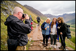 Image ©Licensed to i-Images Picture Agency. 30/05/2015. Fort William, Scotland,United Kingdom. Loose Women Stars L to R Kaye Adams, Nadia Sawalha, Linda Robson climb Ben Nevis for Climb with Ed in connection with the charity Children with Cancer. Picture by Andrew Parsons / i-Images