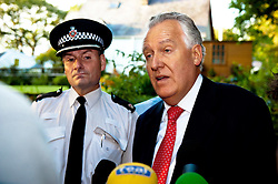 © licensed to London News Pictures  15/09/2011 . Pontardawe,UK...Picture: Peter Hain and  Superintendent Phill Davies  at press conferance held at the end of a lane around two miles away from trapped miners. .. An operation in underway to rescue four miners trapped in a mine in the Swansea Valley. Photo credit :Aled Llywelyn/LNP
