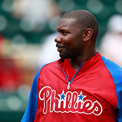 March 9, 2011; Lakeland, FL, USA; Philadelphia Phillies first baseman Ryan Howard (6) before a spring training exhibition game against the Detroit Tigers at Joker Marchant Stadium.   Mandatory Credit: Derick E. Hingle