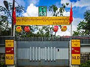 02 NOVEMBER 2015 - YANGON, MYANMAR: The gate to Aung San Suu Kyi's home in Yangon. She served more than 15 years of house arrest in the home behind the gate. She was released from house arrest in 2010 and now is poised to win the most votes of any candidate in Myanmar's national election. National elections are scheduled for Sunday Nov. 8. The two principal parties are the National League for Democracy (NLD), the party of democracy icon and Nobel Peace Prize winner Aung San Suu Kyi, and the ruling Union Solidarity and Development Party (USDP), led by incumbent President Thein Sein. There are more than 30 parties campaigning for national and local offices.    PHOTO BY JACK KURTZ