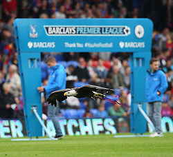 Crystal Palace's Eagle flies past the Barclays Premiership banner - Photo mandatory by-line: Robin White/JMP - Tel: Mobile: 07966 386802 22/09/2013 - SPORT - FOOTBALL - Selhurst Park - London - Crystal Palace V Swansea City - Barclays Premier League