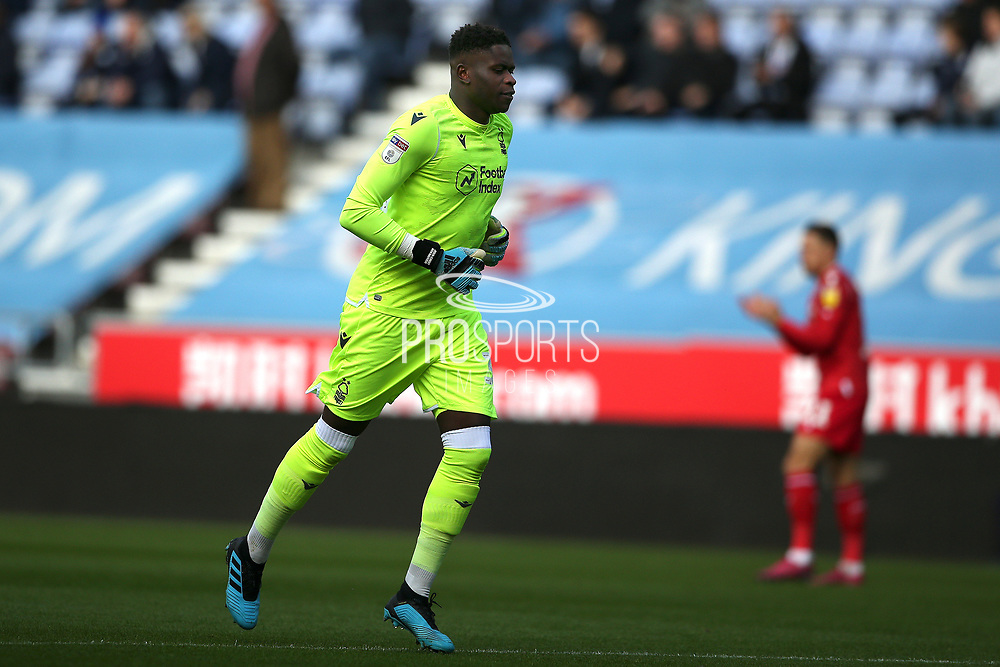 Nottingham Forest goalkeeper Brice Samba (30) during the EFL Sky Bet Championship match between Wigan Athletic and Nottingham Forest at the DW Stadium, Wigan, England on 20 October 2019.