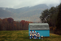 The Powell Valley High School football  team practices behind the school in Big Stone Gap, VA. The Jones brothers are legends in the area from their stints on the team.