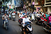 Motorbikes on crowded roads in Ho Chi Minh City, Vietnam.
