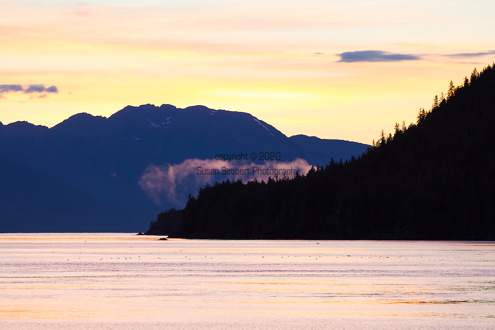 Alaska's Inside Passage at sunset