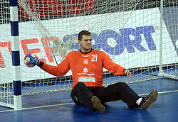 Goalkeeper of Poland Adam Malcher during 21st Men's World Handball Championship preliminary Group C match between National teams of Germany and Poland, on January 22, 2009, in Arena Varazdin, Varazdin, Croatia.  (Photo by Vid Ponikvar / Sportida)