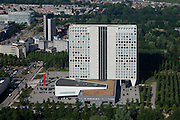 Nederland, Utrecht, Utrecht, 08-07-2010; oud hoofdkantoor van Fortis, niet meer in gebruikt na fusie met ABN Amro, de naam is van de gevels verwijderd (zie ook hiervoor ook foto's van oudere datum). Het Fortisgebouw zal de functie krijgen van Provinciehuis van de Provincie Utrecht. .Former headquarters of Fortis, no longer used after merger with ABN Amro, the name is removed from the façade. The Fortis Building will become Province House of the Province of Utrecht..luchtfoto (toeslag), aerial photo (additional fee required).foto/photo Siebe Swart