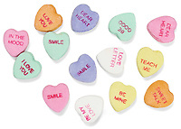 necco word hearts photographed on a white background