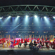 A panoramic image from the Sydney 2000 Olympic Games opening ceremony at The Olympic Stadium, Sydney Olympic Park...Panoramic images from the Sydney Olympic Games, Sydney, Australia. 15th September 2000 . Photo Tim Clayton