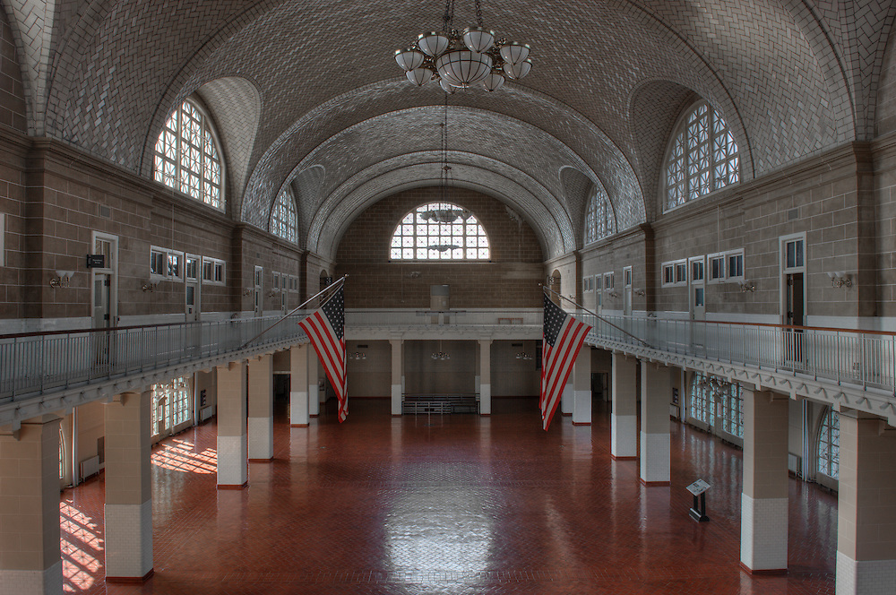 North side of Ellis Island, Main Building, circa 1900..High Definition Range (HDR) image.