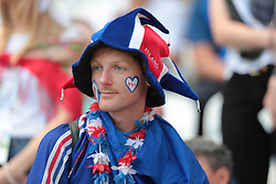 June 16, 2018 - Kazan, U.S. - KAZAN, RUSSIA - JUNE 16: A fan of France during a Group C 2018 FIFA World Cup soccer match between France and Australia on June 16, 2018, at the Kazan Arena in Kazan, Russia. (Photo by Anatoliy Medved/Icon Sportswire) (Credit Image: © Anatoliy Medved/Icon SMI via ZUMA Press)