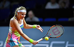 20.04.2016, Porsche Arena, Stuttgart, GER, WTA Tour, Porsche Tennis Grand Prix Stuttgart, im Bild Kristina Mladenovic (FRA) Aktion // during Porsche Tennis Grand Prix of the WTA Tour at the Porsche Arena in Stuttgart, Germany on 2016/04/20. EXPA Pictures © 2016, PhotoCredit: EXPA/ Eibner-Pressefoto/ Weber<br /> <br /> *****ATTENTION - OUT of GER*****