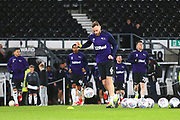 Derby County defender Richard Keogh (6) leads the Derby players out for the warm up during the EFL Sky Bet Championship match between Derby County and Stoke City at the Pride Park, Derby, England on 13 March 2019.