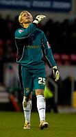 Photo: Alan Crowhurst.<br />Swindon Town v Bury FC. Coca Cola League 2. 25/11/2006. Bury keeper Kasper Schmeichel agonises at defeat.
