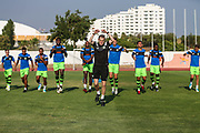 Forest Green Rovers strength and conditioning coach Tom Huelin leading the warm up during the Pre-Season Friendly match between SC Farense and Forest Green Rovers at Estadio Municipal de Albufeira, Albufeira, Portugal on 25 July 2017. Photo by Shane Healey.